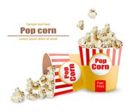 Popcorn Vector realistic. 3d detailed illustrations. Popcorn Vector realistic. Snack 3d detailed illustration Royalty Free Stock Photos