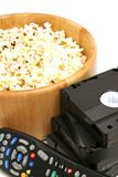 Popcorn & video w/remote contr stock images