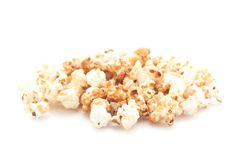 Popcorn on white background. Yellow popcorn on white background Royalty Free Stock Photography