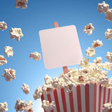 Popcorn Whiteboard. Popcorn exploding everywhere. Your text on the whiteboard Stock Images