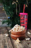 Popcorn in wooden bowl on background of the Royalty Free Stock Images