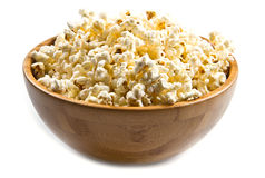 Popcorn in wooden bowl Royalty Free Stock Images