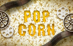 Popcorn word with filmstrip. Popcorn word displayed by popcorn, with filmstrip and reel elements, 3d illustration Royalty Free Stock Photo