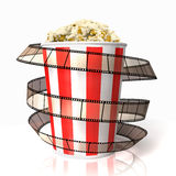Popcorn wraped film strip. Isolated on white background Stock Photos
