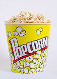 Popcorn in a yellow box Stock Images