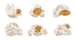 Popcorn zes en pictogram Royalty-vrije Stock Afbeelding
