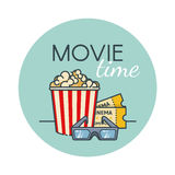 Popcornemmer, filmkaartje en 3d glazen Bioskoopsnack Overzichts vlakke stijl Royalty-vrije Stock Fotografie