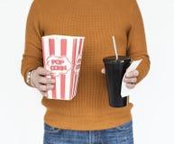 Popcornfilmen dricker mellanmålbegrepp Arkivfoto