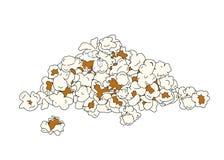 Popcornhög som isoleras på vit Arkivfoto