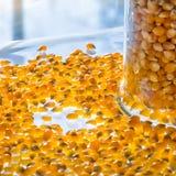 Popcornkerne und ein Glas lizenzfreie stockbilder