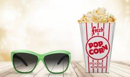 Popcornmat i ask och exponeringsglas 3d Fotografering för Bildbyråer