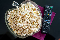 Popcorns in a bowl on a table Stock Images
