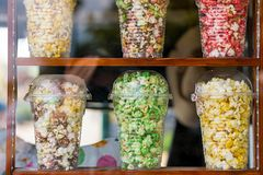 Popcorns in different colors Royalty Free Stock Image