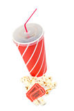 Popcorns, tickets and soda. Popcorn, two tickets and soda on white background Royalty Free Stock Photo