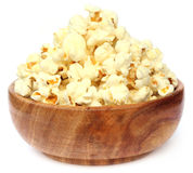 Popcorns on wooden bowl Royalty Free Stock Photos