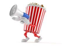 Popcorntecken som talar till och med en megafon royaltyfri illustrationer