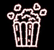 Popcornwunderkerze klassisches Popcorn flyingout der Pappe stock abbildung