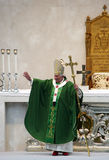 Pope. Brescia,Italy,November 8,,Pope Benedict XVI° greets and blesses the faithful present, after celebrating  Mass and Angelus in Square Paolo VI°,November 8 Stock Photos