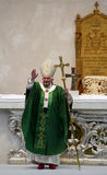 Pope. Brescia,Italy,November 8,,Pope Benedict XVI° greets and blesses the faithful present, after celebrating  Mass and Angelus in Square Paolo VI°,November 8 Stock Photography