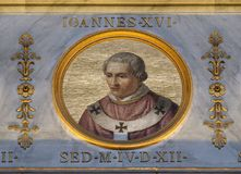 Pope Antipope John XVI. The icon on the dome with the image of Pope Antipope John XVI, born John Filagatto was Pope from 997 to 998, the basilica of Saint Paul Stock Images