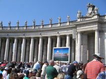 Pope Audience. In San Pietro, Rome stock photos