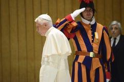 Pope Benedict и швейцарец защищает на обязанности стоковые фотографии rf