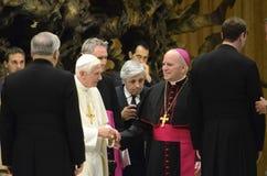 Pope Benedict recieves Archbishop Aquila. Private audience with Pope Benedict and archbishops receiving the Pallium, including Archbishop Aquila from Denver, Co Stock Photo