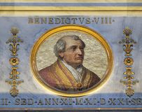 Pope Benedict VIII. The icon on the dome with the image of Pope Benedict VIII reigned from 18 May 1012 to his death in 1024, basilica of Saint Paul Outside the Stock Photo