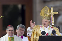 Pope Benedict XVI. (Joseph Alois Ratzinger) at Basilica and Expiatory Church of the Holy Family on November 7, 2010 in Barcelona, Spain Stock Photos