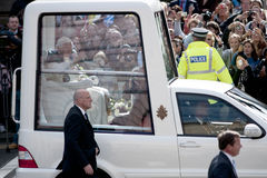 Pope Benedict XVI. Visiting Edinburgh, Scotland royalty free stock image