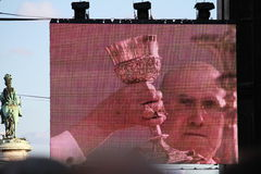 Pope Benedict XVI Celebrating Mass. LISBON - MAY 11:  Pope Benedict XVI  Hand and Cardinal Bertone Celebrating Mass For 150.000 People 11, 2010 in Lisbon Stock Photo