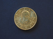 Pope Benedict XVI 50 cents coin. 50 euro cents coin EUR from Vatican City bearing the portrait of pope Benedict XVI Joseph Ratzinger Stock Photo