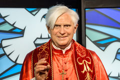 Pope Benedict XVI Figurine At Madame Tussauds Wax Museum Stock Photography