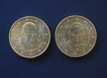 Pope Benedict XVI and Francis I 50 cents coins. 50 euro cents coins EUR from Vatican City bearing the portrait of pope Benedict XVI Joseph Ratzinger and Francis Royalty Free Stock Photography