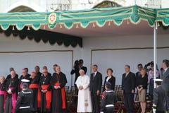 Pope Benedict XVI and President Cavaco Silva Stock Images