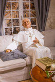 Pope Benedict XVI wax figure of Polonia Wax Museum at Main Market Square. Royalty Free Stock Photo