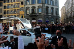 Pope Bergoglio Francesco in Florence Royalty Free Stock Photo