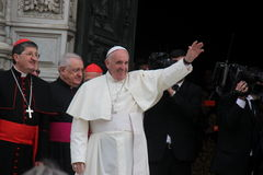 Pope Bergoglio Francesco w Florencja Obrazy Royalty Free