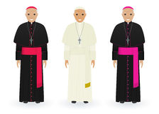 Pope, cardinal and bishop in characteristic clothes isolated on white background. Catholic priests. Religion people. Pope, cardinal and bishop characters in Royalty Free Stock Photo
