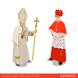 Pope Cardinal catholic couple flat 3d isometric costume. Pope and Cardinal catholic couple. Flat 3d isometric web site vector illustration. People in traditional Stock Photography