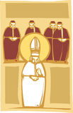 Pope and Cardinals. Woodcut style image of the Catholic Pope with Church Cardinals Royalty Free Stock Photos