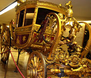 Pope carriage, made around 1825 during the pontificate of Pope Leo. Vatican exhibit of carriages and cars chronicles papal transport ... of ornate Berlina Gran Royalty Free Stock Photography