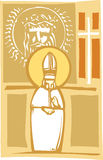 Pope and Christian Images. Woodcut style image of the Catholic Pope with Cross and Christ Stock Photography