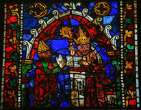 Pope Clement. Stained glass window depicting Pope Clement in the cathedral of Leon, Castille and Leon, Spain Royalty Free Stock Photos