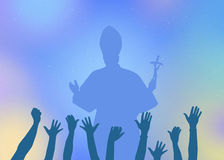Pope in the crowd. Illustration of Pope in the crowd Royalty Free Stock Photo
