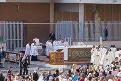 Pope Francesco Bergoglio celebrates the Corpus Domini mass in Sant Monica square in Rome. Ostia Lido - Rome, Italy June 3, 2018: Pope Francesco Bergoglio stock photo