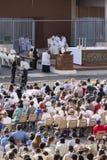 Pope Francesco Bergoglio celebrates the Corpus Domini mass in Sant Monica square in Rome. Ostia Lido - Rome, Italy June 3, 2018: Pope Francesco Bergoglio royalty free stock photography