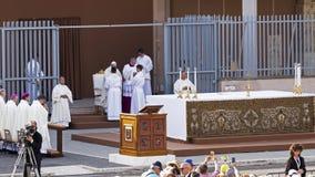 Pope Francesco Bergoglio celebrates the Corpus Domini mass in Sant Monica square in Rome. Ostia Lido - Rome, Italy June 3, 2018: Pope Francesco Bergoglio royalty free stock images