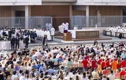 Pope Francesco Bergoglio celebrates the Corpus Domini mass in Sant Monica square in Rome. Ostia Lido - Rome, Italy June 3, 2018: Pope Francesco Bergoglio royalty free stock photo
