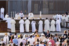 Pope Francesco Bergoglio celebrates the Corpus Domini mass at Sant Monica square in Rome. Ostia Lido - Rome, Italy June 3, 2018: Pope Francesco Bergoglio stock image